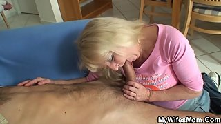 Very old blonde granny in white lingerie loves his big cock