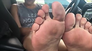 Latina moms stinky feet fresh out the gym footjob posing