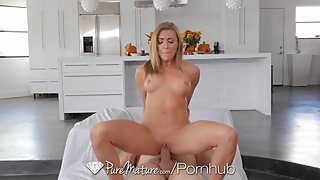 PUREMATURE Busty House Wife Christens Kitchen!Move In Day Fuck
