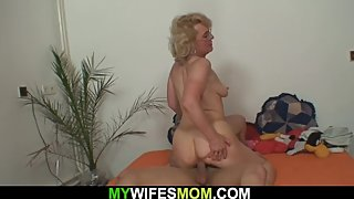 Wife finds out old blonde mommy riding hubby's cock
