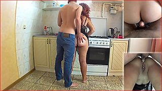 Stepson anal sex with stepmom in the kitchen.  Amateur stepmother ass