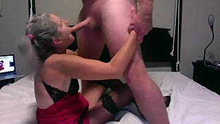 Hot Milf Plays With Hubby's Cock Sucks Licks Mature Granny Gilf 60 year old
