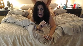 MATURE MOM smokes cigarette while getting pussy pounded from behind