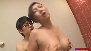 japanese mother takes a bath with her son