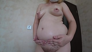 pregnant milf, hairy pussy and big nipples, masturbation with cream