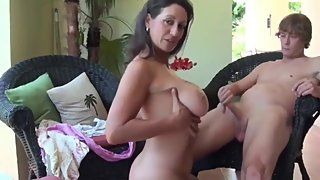 Naughty mature wife having a real orgasm with her stepson