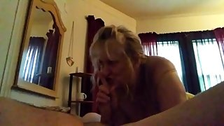 Beautiful Stepmom gives stepson great sloppy deepthroat as soon as he wakes