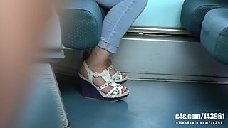Candid mature feet wedgies and flats