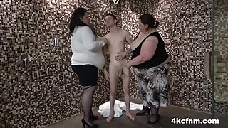 Supersized BBW Hurricanes Sharing Skinny Cock - CFNM