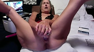 Hot Milf Playing With Rabbit Big Orgasm While Hubby Fucks Mature Granny