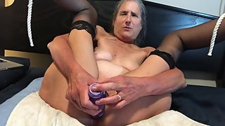 Hot MILF Takes Big Dildo Deep Gets Fucked In Face Orgasms Mature Granny 60