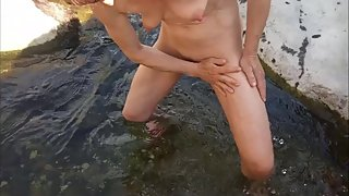 Pee, wash and fuck at the river