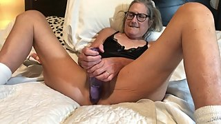 HOT Milf Takes 9 Inch Dildo Mature Granny 60 year old
