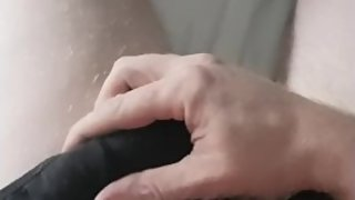 Mature guy rubs cock