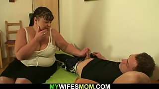 Wife finds him doggy-fucks her busty fat mom
