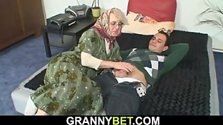 Young guy fucks old blonde woman