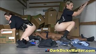 Dirty Female Cops Abusing Suspect With Huge Ebony Dick