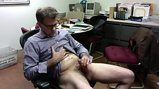 mature mustache daddy jerks off in the office