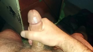 solo male jerking off hard cock and shooting a big cum load  FPV