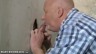 Bald Mature at a Gloryhole