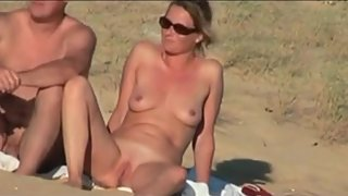 French mature couple sex on public beach voyeur