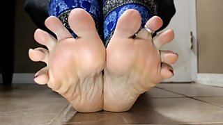 Mature Toe Rings and Oiled Soles