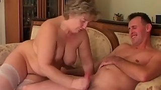 BBW granny enjoys younger cock and getting a creampie