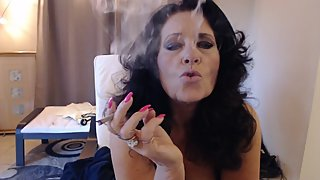 MATURE MOM smokes at dawn  while showing off big thighs and ass