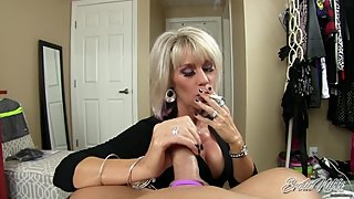 Erotic Nikki - Mature Sister in Law Smokes While Giving POV cuckold Handjob