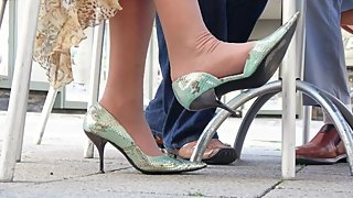 Lady's Nylons And High Heels On A Very Hot Summer Day