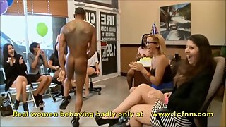 Dick Crazed Girls Wank Male Stripper At Birthday Party