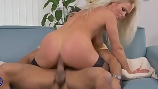 Beautiful mom seduce son while daddy away