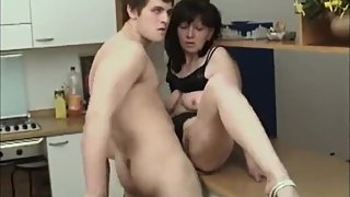 Stepson with big cock seduces and fucks his mature divorced stepmom