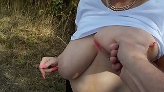 the Husband teases my nipples outdoors