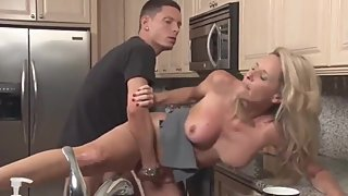 Mature stepmom convinced her stepson with big cock to fuck in kitchen