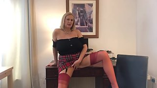 Annabel's red tartan skirt