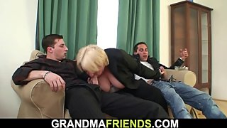 Boozed big tits blonde granny gets double dicked on the table