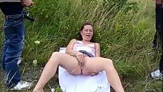 Granny Dogging Masturbating to Tease and Get Cumshot on Her Butt