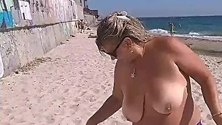 Public smoke with naked big boobs. Extreme mature women