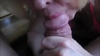 Red Lips Granny Suck Dick and Drink Cum