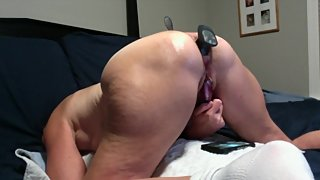 Hot Milf Gets A Huge Buttplug And Anal Beads Inserted In Her Ass By Hubby