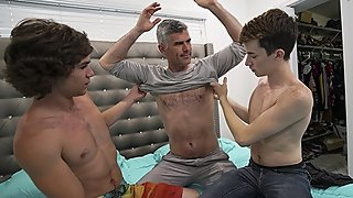 FamilyDick - Boys Fool Around Before Stepdad Interrupts With His Cock