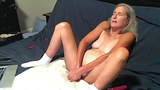 Hot Milf Takes A Long Ride On Her Dildo While Hubby Watches Mature Granny