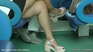 Candid mature feet heels and young wedgies, perfect feet
