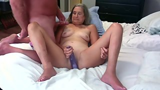Hot Milf Masturbates With Big Dildo While Hubby Jacks Off On Her Tits