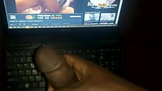 Jerking off to my ebony step sister's solo sex video