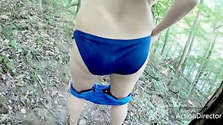 PAWG wife drops bikini and floods nature trail