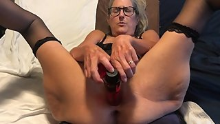 Hot MILF Is Tied Up Pussy Spread Wide Fucks Huge Dildo Mature Granny