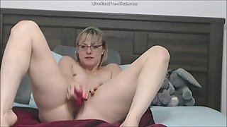 Hot Mature Blonde with Glasses and Short Hair Helping Guys Real Sweetheart