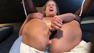 Hot MILF Orgasms To Black Rabbit and Anal Beads Mature Granny 60 Year Old